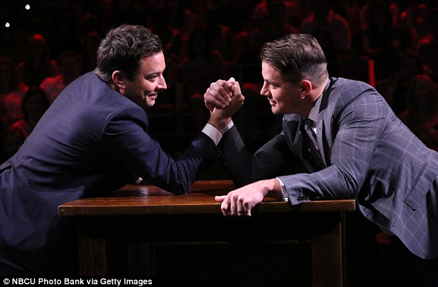 'I know you're a strong dude!' Jimmy Fallon dared to challenge Channing Tatum to an arm wrestle on The Tonight Show on Friday night... and lost