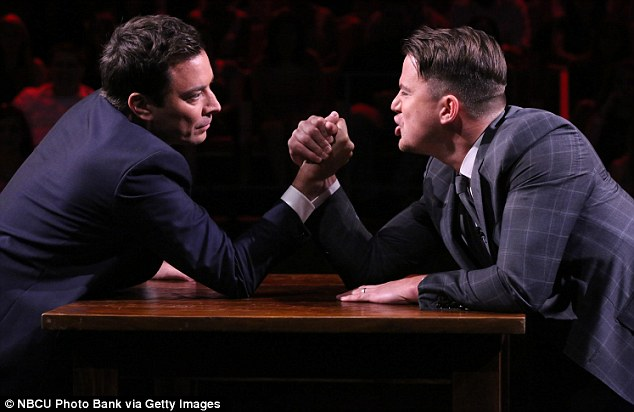 Game face: The 34-year-old Dear John actor was not messing around, quickly talking Jimmy down with trash