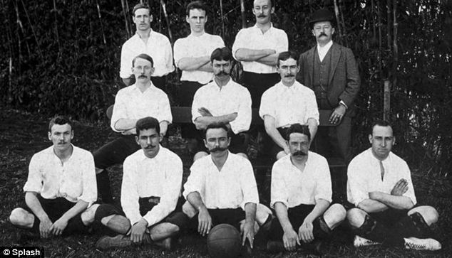 Charles Miller is pictured in the middle of the front row of the Sao Paulo Athletic Club assembled in 1904