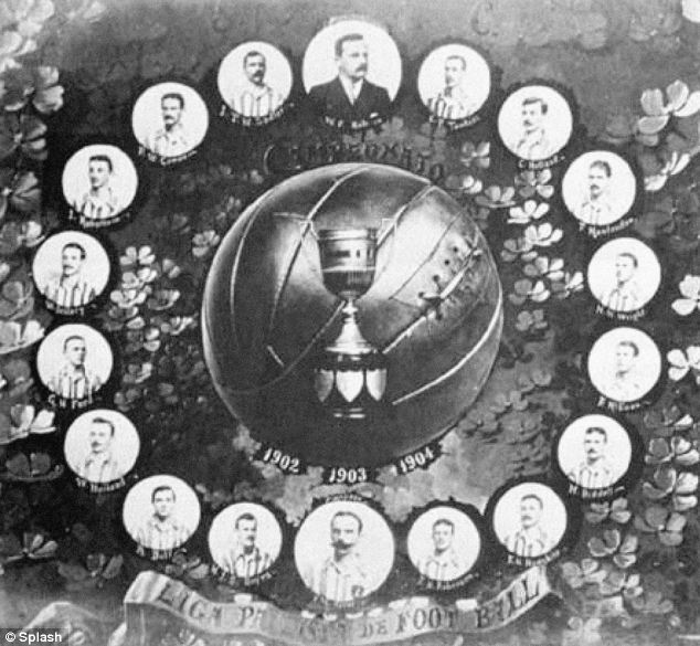A poster commemorating Sao Paulo Athletic Club's three championships in a row from 1902-1905. Charles Miller is pictured at the centre in the bottom