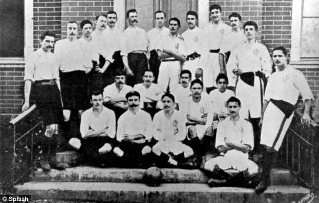 Mr Miller's Sau Paulo AC squad pose for a photo ahead of the title play-off match for the first league in 1902. Charles Miller is pictured second from left in the front row