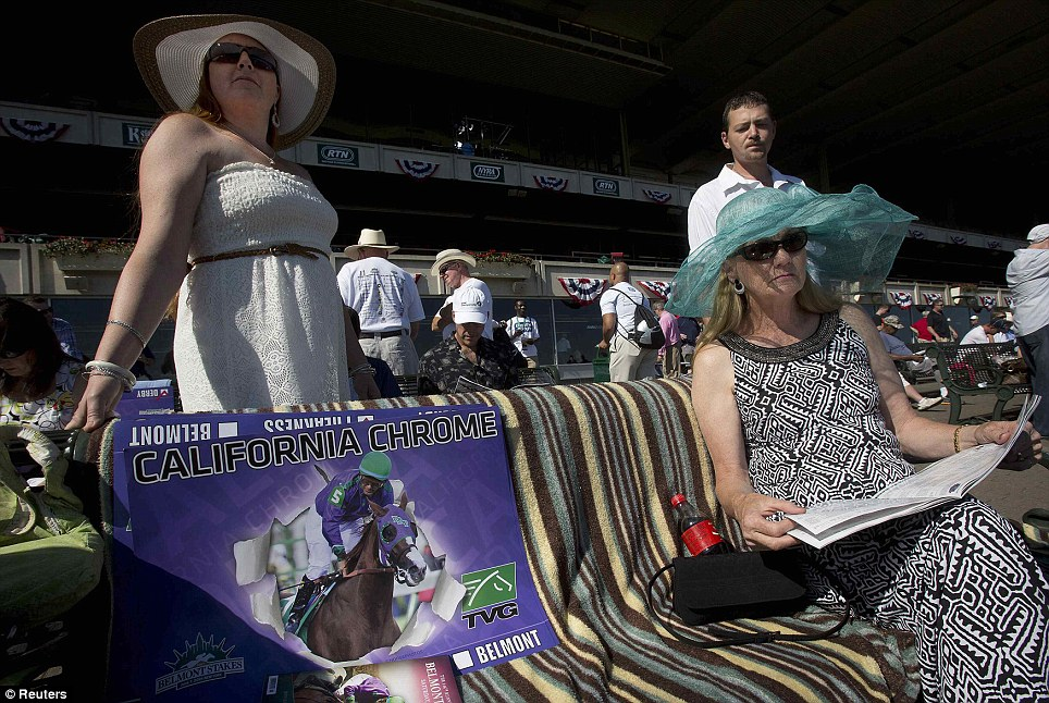 Big crowd: An estimated 100,000 race fans are due to gather at Belmont to watch California Chrome try to win the Triple Crown
