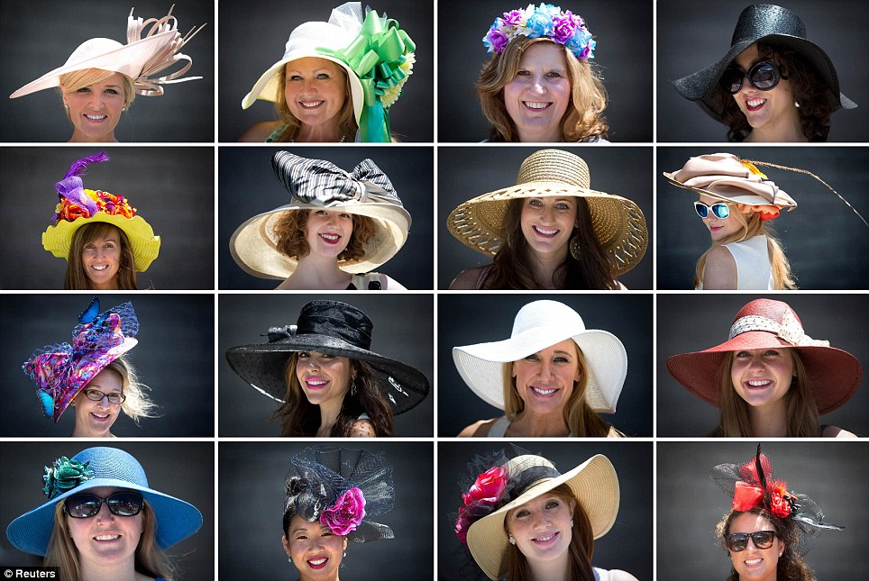 Turning heads: An array of stylish hats were paraded at Belmont Park on Saturday