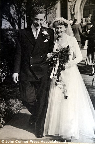 Memories: Pictured with his wife Irene on their wedding day in 1946, Mr Jordan revealed in his first full interview with a newspaper that he lied about his age to get into the Royal Navy at 17, a year early