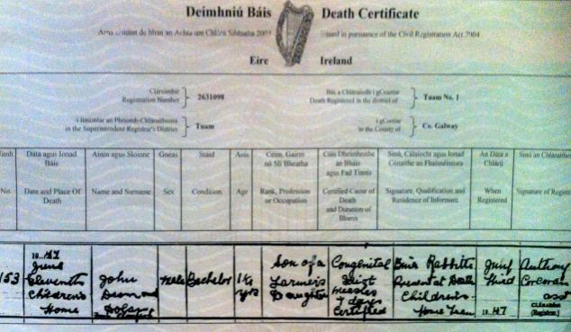 Harrowing: This is the death certificate of 16-month-old John Desmond Dolan, who died in 1947. It describes him as being a 'congenital idiot' when he died in St Mary's Mother and Baby home, run by Bon Secours sisters
