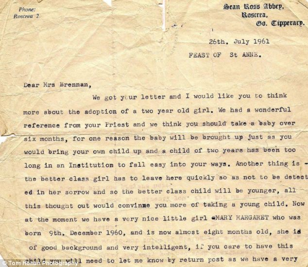 Letters she obtained from her adoptive parents detailing how she was given to them also sheds light on the nuns' attitudes towards children of poorer single mothers