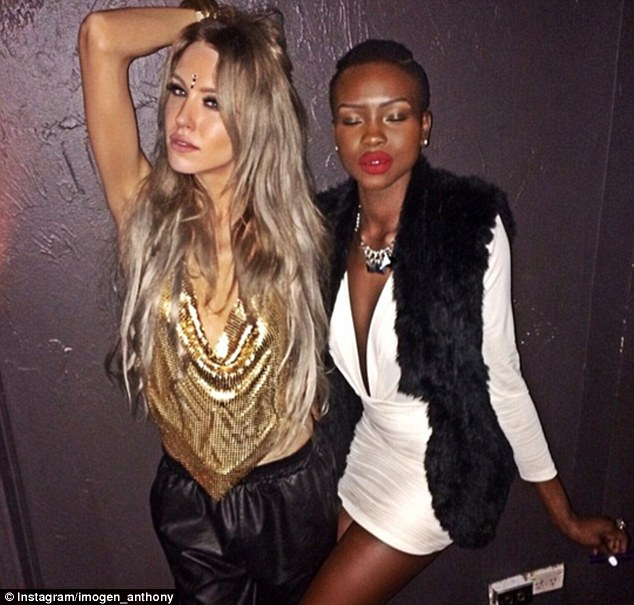 Stylish couple: Imogen and her friend The Face Australia model Yaya Deng looked as though they were having a great night out in the pictures uploaded on Sunday