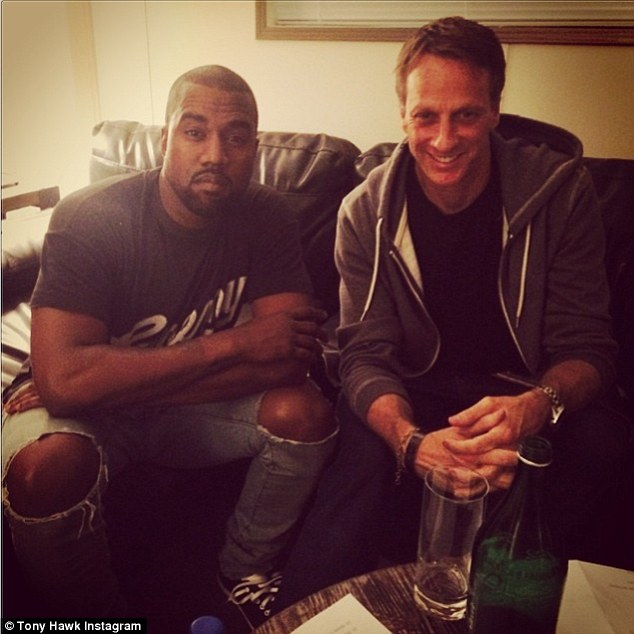 'Sorry for interrupting nap time...' Skater Tony Hawk shared a snap of himself with the rapper backstage before Kanye's concert in Austin, Texas on Saturday night