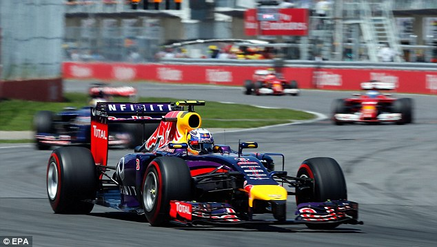 Delight: Ricciardo overtook Nico Rosberg with two laps left of an eventful race in Montreal