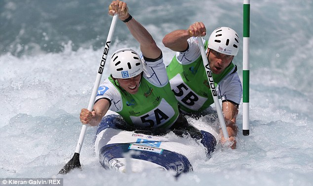 Glory: David Florence (left) and Richard Hounslow (right) won C2 gold at the Canoe Slalom World Cup