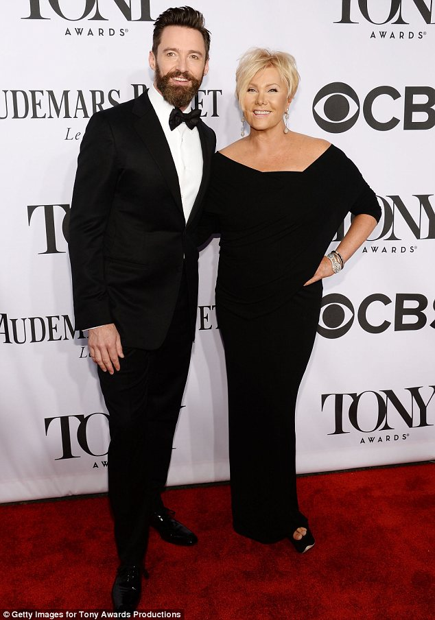 His biggest fan: Hugh Jackman got some moral support from wife Deborra-Lee Furness as he arrived to host the Tony Awards in New York on Sunday