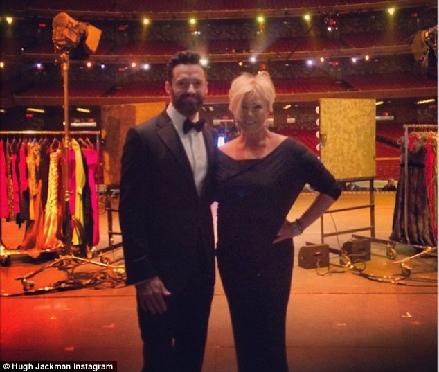 Sweet: Hugh Jackman shared this picture of him and Deborra and wrote: 'Amazing wife. Awesome night. #tonyawards'