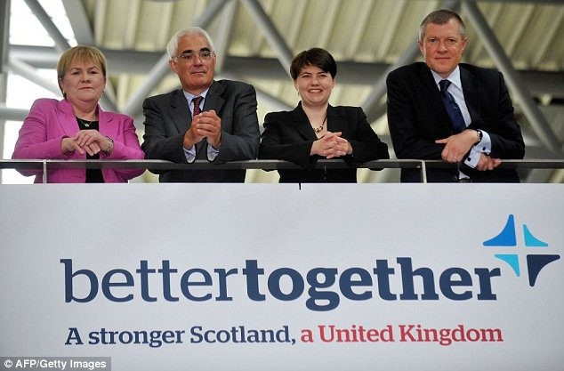 "Scottish Labour Party Leader Johann Lamont, (L) former British Finance Minister Alistair Darling, (2nd L) Scottish Conservative Party Leader Ruth Davidson (2nd R) and Scottish Liberal Democrat Leader Willie Rennie, (R) pose for pictures in Edinburgh, Scotland, on June 25, 2012, following the launch of a campaign against Scottish independence.   British lawmakers from across the political spectrum launched a campaign against Scottish independence on Monday, insisting that Scotland benefits from Britain's ""unique influence"". Alex Salmond, Scotland's First Minister and leader of the pro-independence Scottish National Party (SNP), plans to hold a referendum in autumn 2014 on severing the more than 300-year-old union and launched its campaign last month.     AFP PHOTO / Andy BuchananAndy Buchanan/AFP/GettyImages"