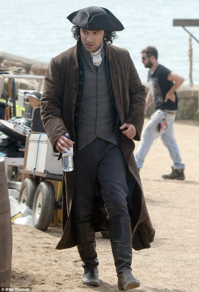 On set: Aidan Turner plays Ross Poldark in the forthcoming BBC adaptation of The Poldark Novels by Winston Graham