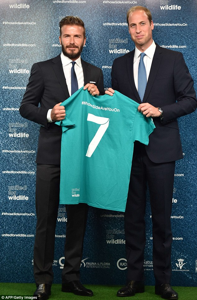 London: Britain's Prince William, Duke of Cambridge, (R) and former England football player David Beckham (L) pose with a signed shirt during an event to launch the United for Wildlife campaign