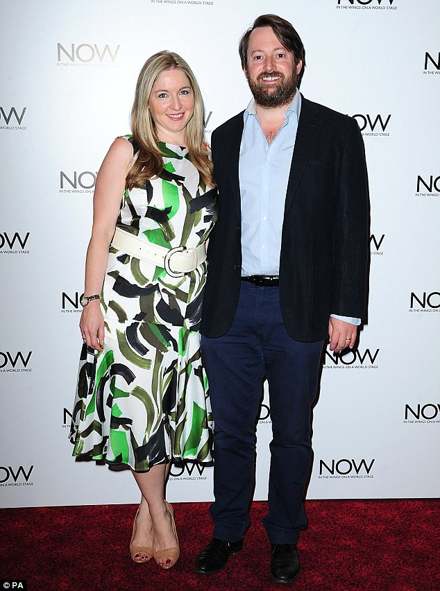 Happy couple: David Mitchell and wife Victoria Coren Mitchell attend the screening
