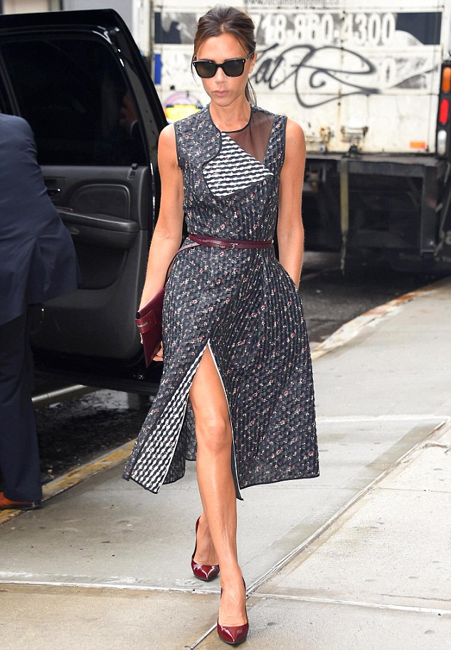 Rocking the brand: Victoria Beckham wears one of her own designs in New York