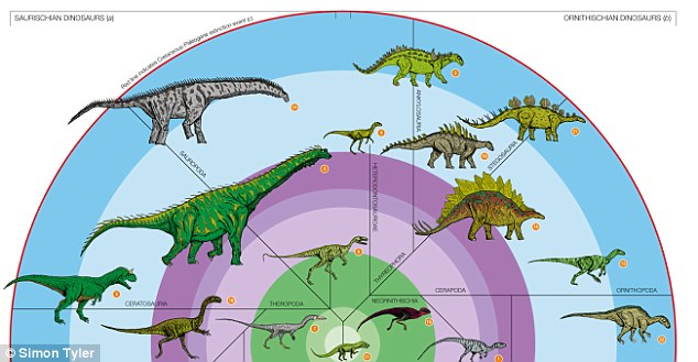 The circular diagram details the rise and fall of the Dinosauria from its appearance in the early Triassic, 231 million years ago, to its virtual total extinction at the end of the Cretaceous period 66 million years ago