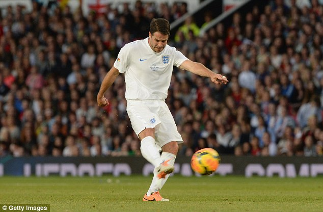 Fighting back: Jamie Redknapp halved the deficit with a well-taken goal for England with 15 minutes remaining