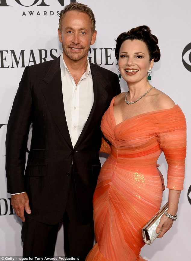 Happy (former) couple: Fran posed with her handsome ex-husband Peter Marc Jacobson, who she divorced in 1999, at the awards ceremony