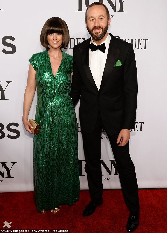 Luck of the Irish: British presenter and author Dawn O'Porter chose a beautiful green dress in honour of her nominee husband Chris O'Dowd