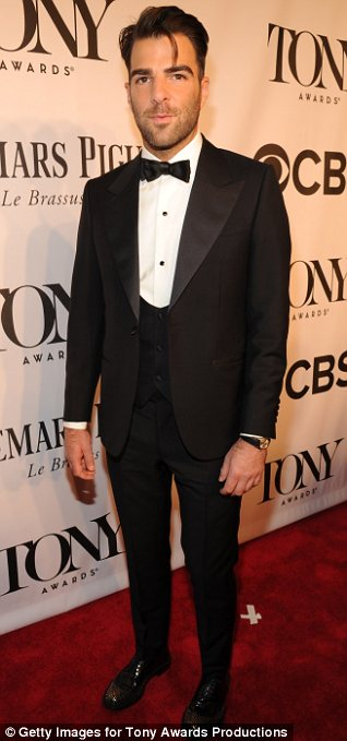Handsome hunks: Matt Bomer and Zachary Quinto got hearts races as they walked the carpet at the Tony Awards
