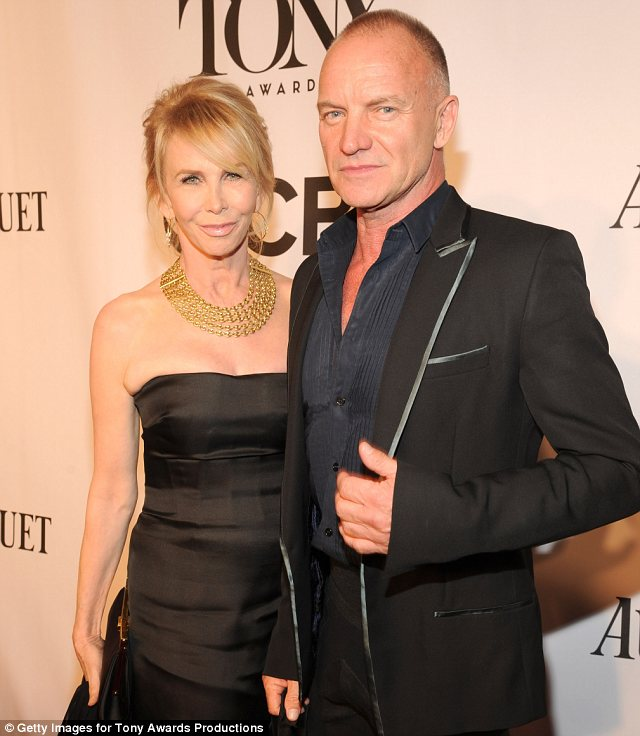Ready to go: Sting arrived with his wife Trudie Styler to perform a number from his musical The Last Ship, which has not yet opened