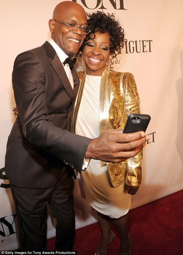 Now that's a selfie: Samuel L Jackson took a picture with Gladys Knight on the red carpet