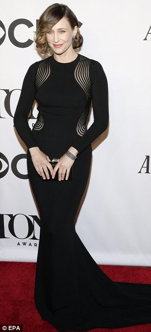 Fashion forward: Vera Farmiga had one of the best outfits of the night as she wowed in this beautiful floor length black dress