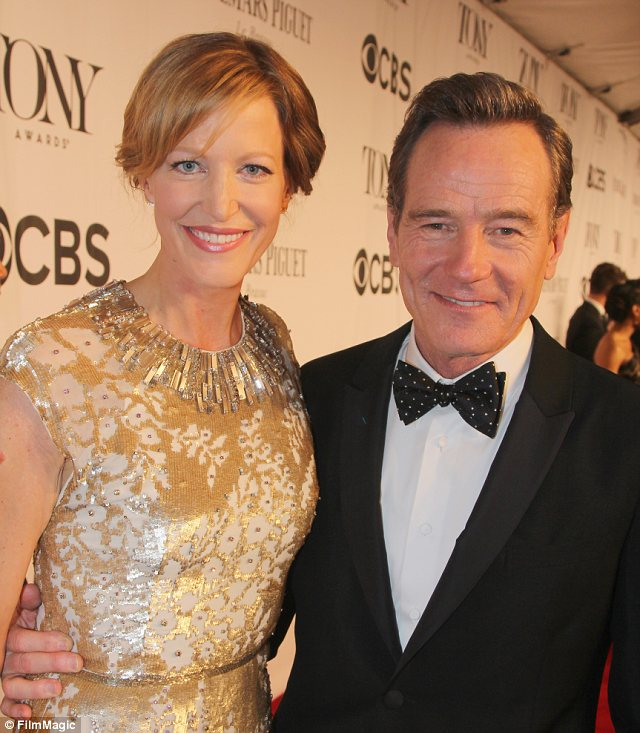 Reunited: Breaking Bad's Gunn and Cranston, who played husband and wife, caught up at the ceremony