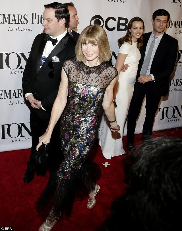 Fashionable guest: Leighton Meester appeared starstruck to spot Vogue's Anna Wintour at the ceremony