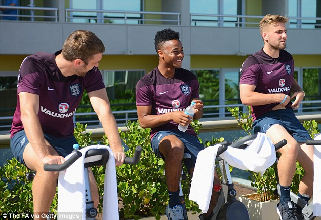 Looking good: Raheem Sterling takes part in a recovery session and is in contention to start against Italy