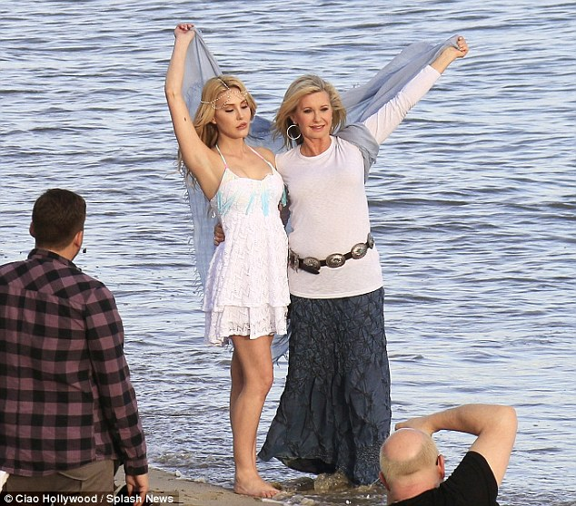 Close: The aspiring actress with her 65-year-old mother Olivia Newton John on a photoshoot in Malibu. Chloe recently alluded to falling off her sobriety wagon, causing her mother concern