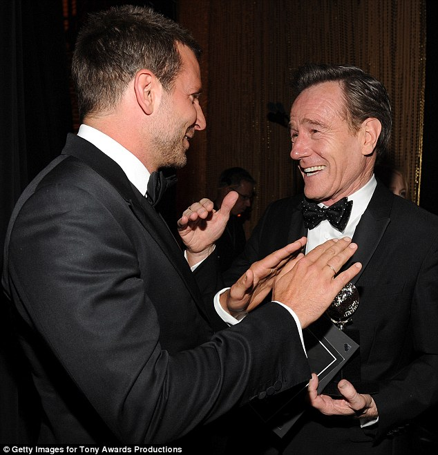Congratulations! The American Hustle star seemed to enjoy having a chat after the award presentation with the former Breaking Bad favourite