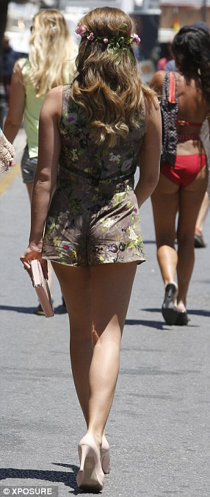 Flower power: Lydia stepped out on Monday sporting this rather questionable floral ensemble