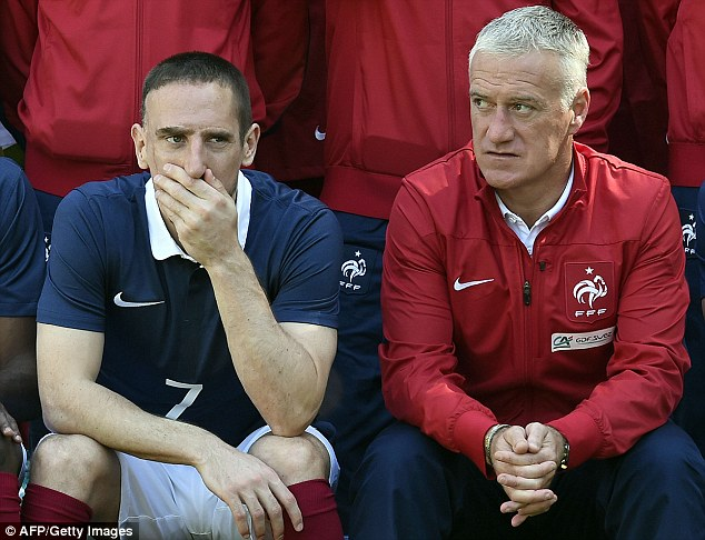 Head in hands: Franck Ribery (left) is out of the World Cup, with manager Didier Deschamps looking on