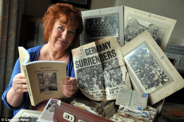Snapshot: Virginia Aighton, 65, has opened her father's cases of cuttings, letters and photos from life at war