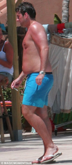 That's got to hurt! The Only Way is Essex regular looked incredibly red as he took a dip in his hotel's swimming pool