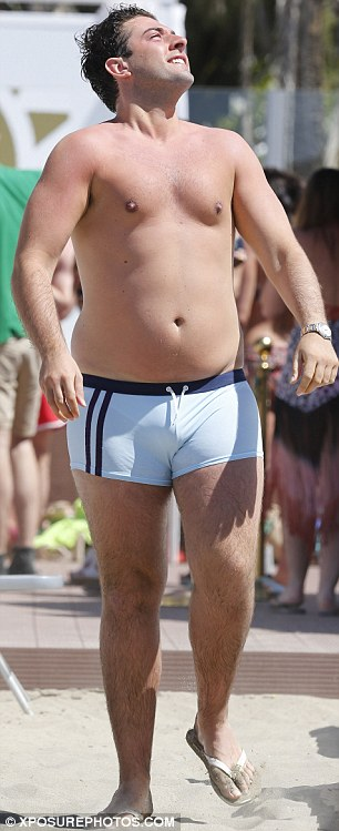 Double take: The reality TV star sported a tiny pair of swimming trunks that were almost identical to the pair Daniel Craig wore in Casino Royale