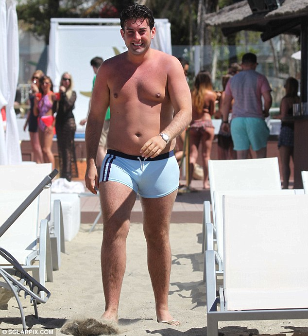 Eye-catching: The stars of the ITV2 show were spotted filming the opening shots at Plaza Beach, in Puerto Banus on Monday