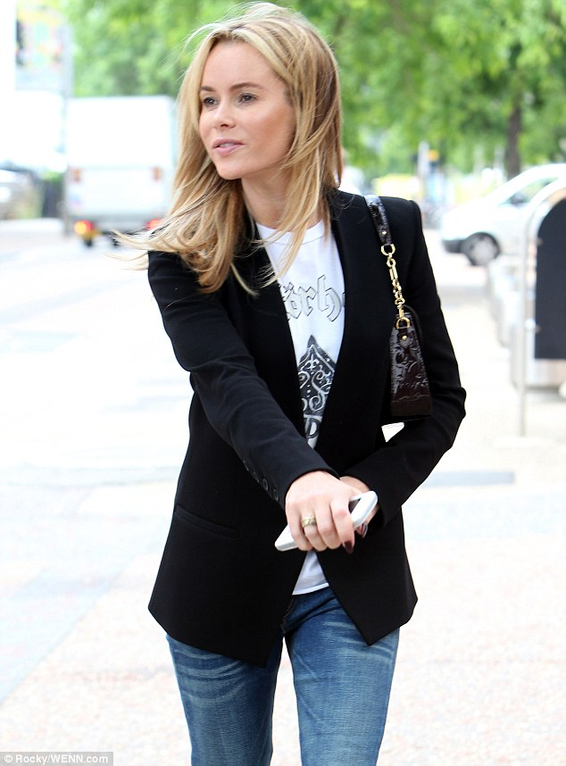 Blazing a trail: The star's sharp blazer looked great with the relaxed T-shirt