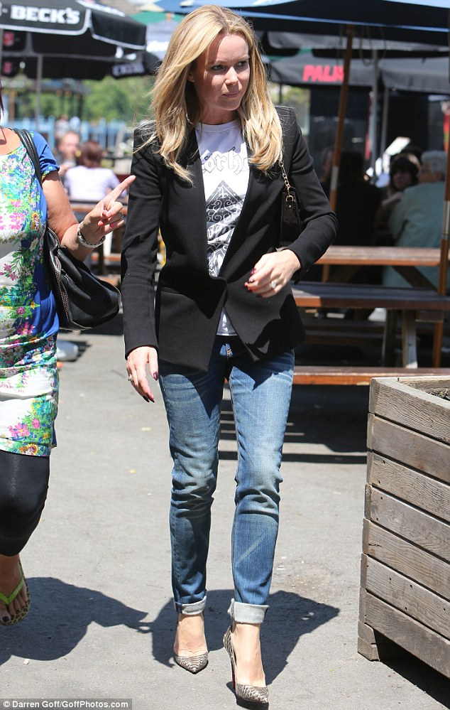 Onwards and upwards:  Amanda Holden stepped out in London on Monday after angering fans during the BGT final