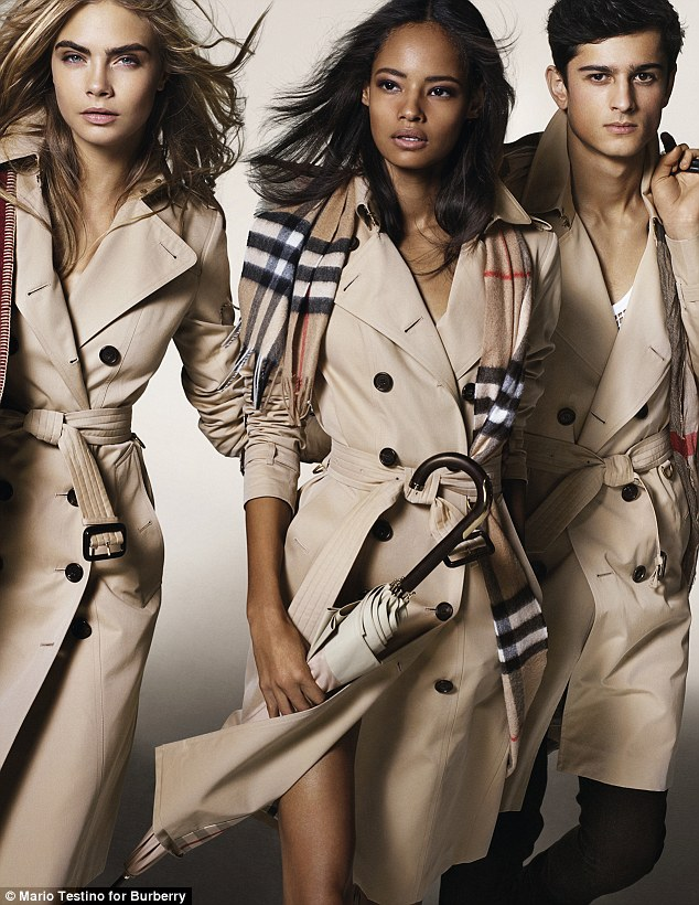 Cool young things: Speaking about the new campaign, Christopher Bailey, Chief Creative and Chief Executive Officer of Burberry, said: 'A dynamic British cast brings the artistic spirit of the campaign to life with the iconic Burberry trench coat at its heart'