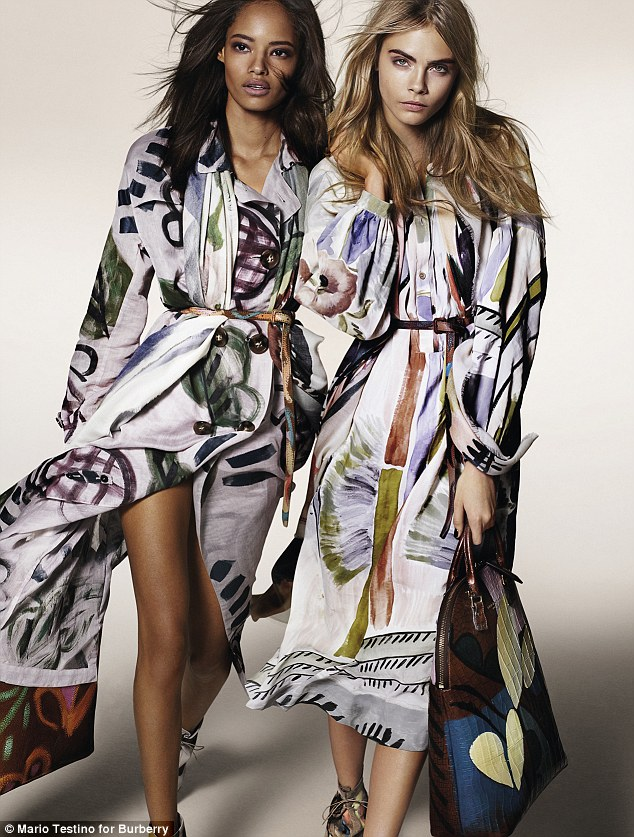 Intricate designs: Bailey first showcased the range at London Fashion Week in February when he sent out all his models - including Cara and Malaika - in his beautiful, hand painted designs