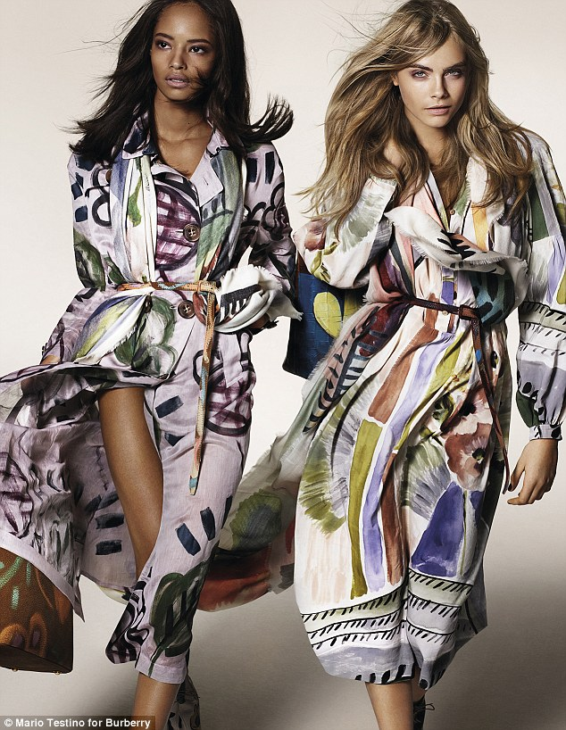 Looking good! Cara Delevingne, right, is joined by Malaika Firth in the campaign, which was shot by Mario Testino and aims to reflect the artistic spirit of the collection, which features hand-painted techniques
