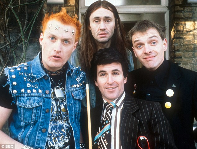 Comedy classic: Mayall (right) starred in The Young Ones as Rick, who lived in a student house with Adrian Edmondson as the punk Vyvyan (left), Nigel Planer as hippie Neil (top), Christopher Ryan as wide boy Mike (bottom)