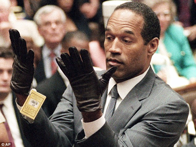 The bloody glove: 'If it doesn't fit you must acquit,' said defense attorney Johnnie Cochran about the bloody glove found at the guest bungalow in back of OJ's Rockingham home. Simpson is pictured at his murder trial in 1995