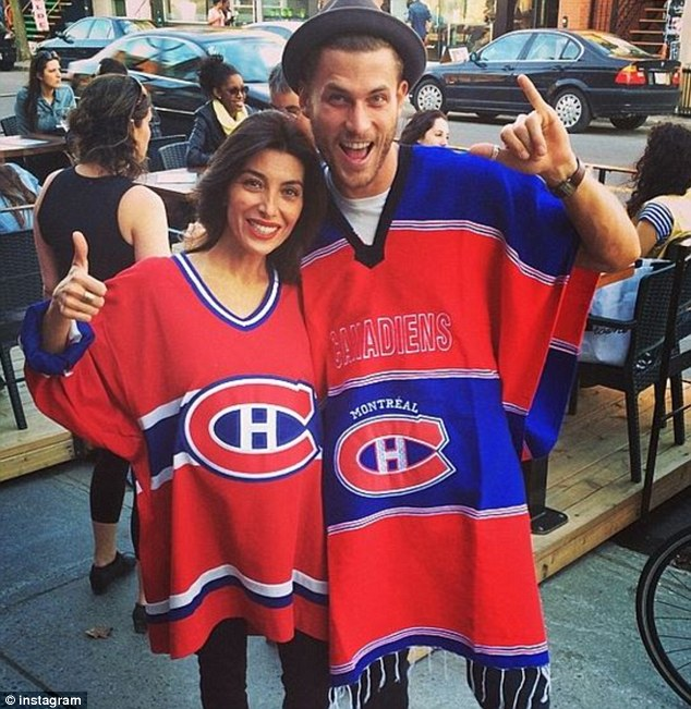 Hockey fans: Canadian model Philippe LeBlond has even got Mezghan rooting for his hockey team