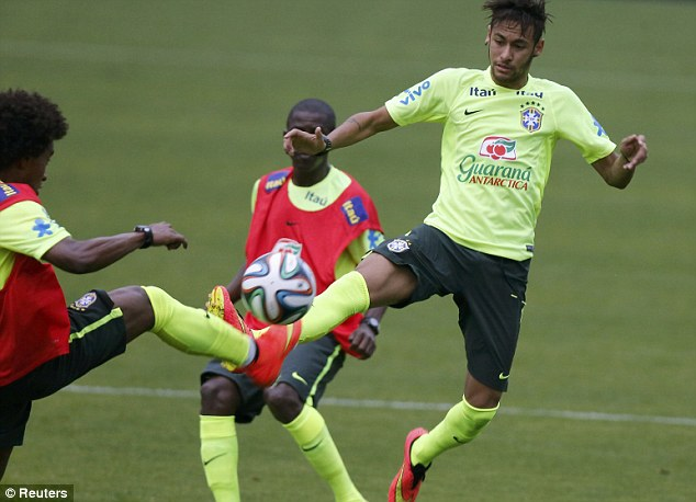 Preparations: Neymar had been playing a full part in the training session up until the injury