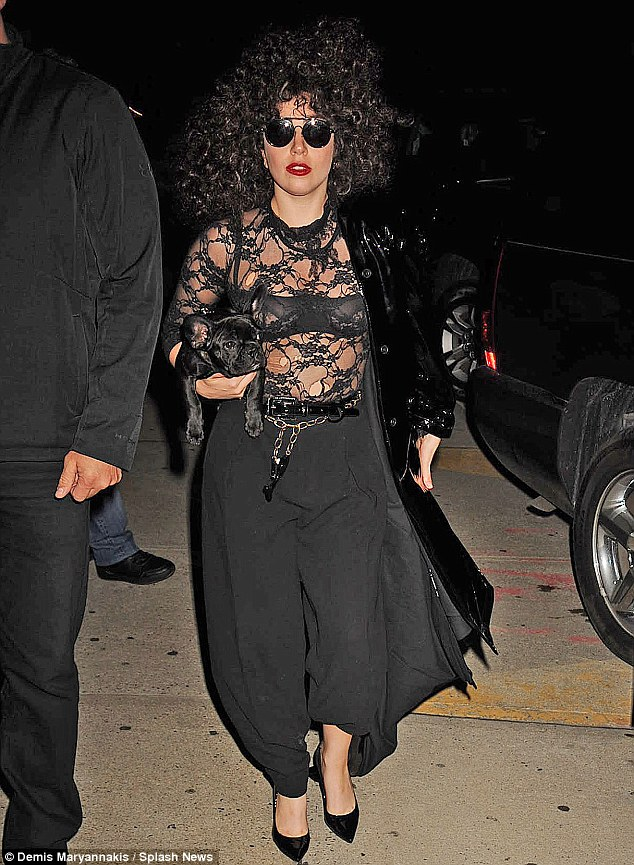 All in a curl: Lady Gaga wore a very curly week while in New York on Monday